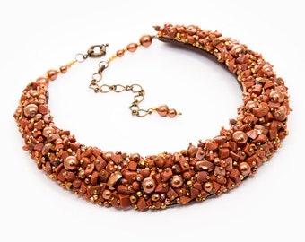 SUN STONE - statement necklace, semi precious stones necklace, beaded necklace