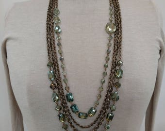Long Layered Crystal Beaded Necklace