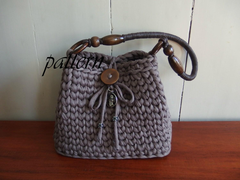 Digital crochet pattern t-shirt yarn bag/download crochet bag