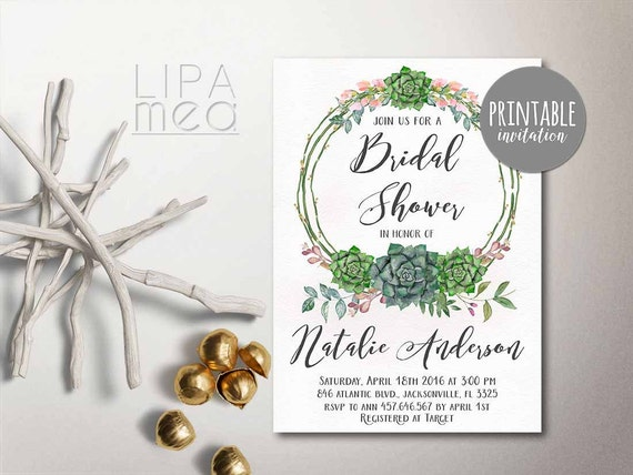 Printable Bridal Shower Invitation Floral Bridal Shower
