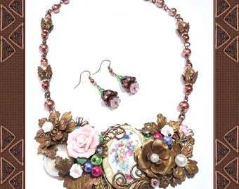 Collage Necklace and Earrings, pink, chocolate brown, flowers, assemblage necklace, ceramic flowers, gift for wife, gift for friend