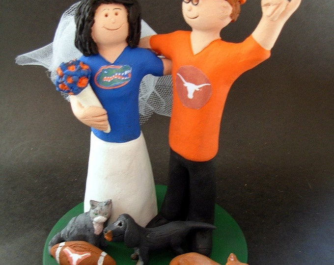 Texas Longhorns Wedding Cake Topper, Florida Gators Marriage Cake Topper, Texas Longhorns Wedding Anniversary Gift/Cake Topper,