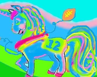 Cute Seattle Seahawk Unicorn Digital Canvas Art Print (8x8)
