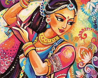 Bollywood dance, Indian woman, Indian decor, Indian classical dance painting, feminine decor, beauty painting print 8x11+