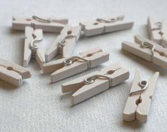 "White Mini Clothespins - 25 - 1"" or 2.5 cm - Wooden - Great for Wedding Favors and Decorations"