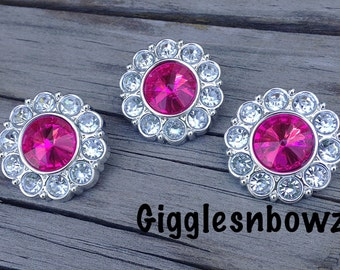 Rhinestone Buttons- 3pc Fuchsia and Clear Acrylic Rhinestone Buttons 25mm- Flower Centers- Diy Headband Supplies- Hot Pink Rhinestone