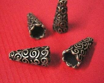 8pc antique bronze cone shape bead cap-5241