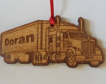 Semi Truck Personalized Christmas Ornament FREE SHIPPING