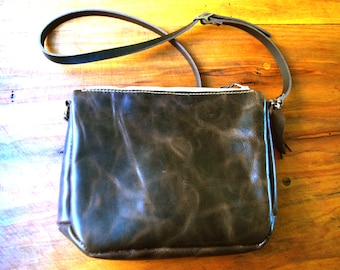 Leather Crossbody Purse / Handmade Brown Shoulder Bag / Feather Details