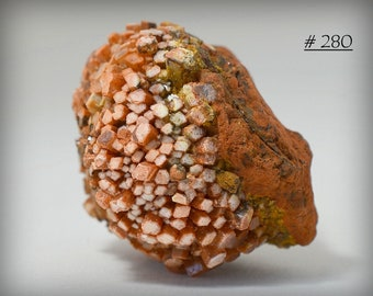 Orange/Red Glassy Aragonite Crystal Ball with White Termination Phantoms -  Mineral Collectible