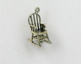 Sterling Silver 3-D Rocking Chair Charm