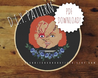 DIY Evil Doll cross stitch PATTERN. Counted cross stitch pattern. Needle point pattern.