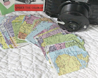 50 Vintage Map Recycled Paper Tag Labels for Wedding, Altered Art, Scrapbooking, Gifts