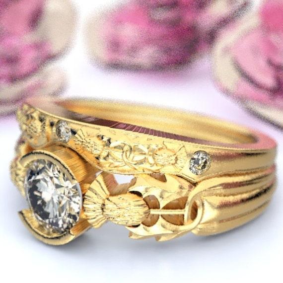 Thistle Engagement Ring Set, 10K 14K 18K Gold & Moissanite, Scottish Solitare, Floral Wedding, Handcrafted Rings, Platinum or Palladium 5062