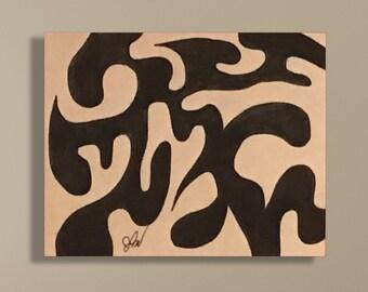 "Original Signed Birch Wood Panel Marker Illustration - ""Chaotic Simplicity"""