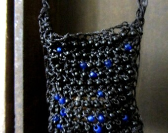 Crochet neck bag, crochet necklace bag, Beaded black neck pouch
