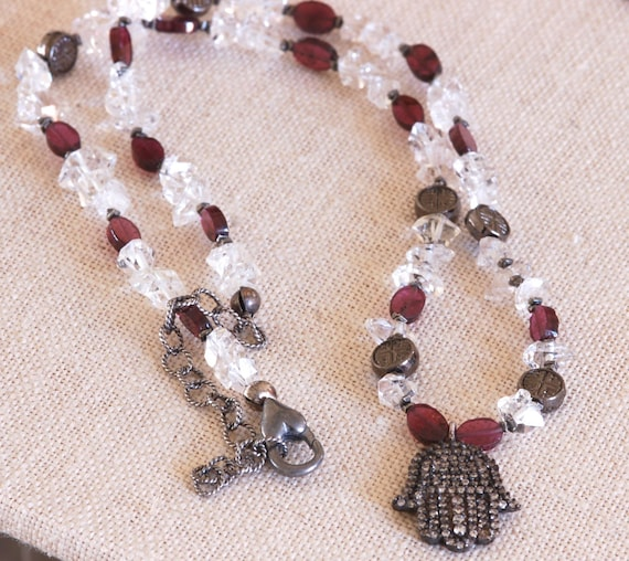 Herkimer Diamond Hamsa Necklace