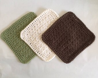 Kitchen Cloths Cotton Dish Cloths Tavern Green Brown Off White Made to Order