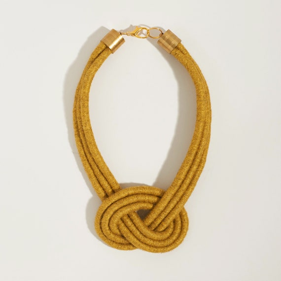 Triple Overhand Decorative Knot Textile Necklace