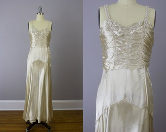 1920's Art Deco Ivory beaded silk satin gown / Size small / Rare