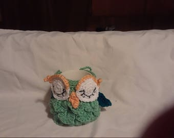 owl cup cozy hand crocheted
