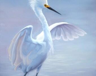 Snowy Egret - Egret - Crane - bird painting - waterfowl - Heron - bird print - Open edition print