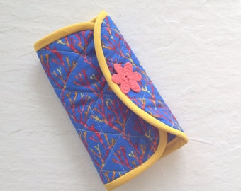 Crochet Hook Case -blue, orange, red and gold coral quilted cotton carrying case, tri fold hook storage