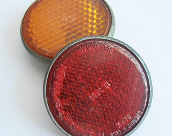 Set of 2 Red and Orange Bicycle Light Reflectors, Soviet  Vintage Bike Reflectors, Cat Eye Reflector, Made in USSR