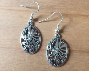Antique Silver Finish Oval Dangler Earrings