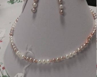 Pearl and Rose Gold jewellery set