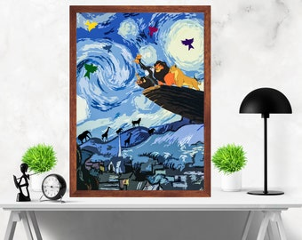 Lion King with Starry Night Van Gogh Minimalist Alternative Artwork Print Poster