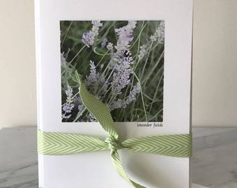 LAVENDER FIELD SET, Watercolor Image, Set Five Cards, Blank Greeting Card, Fold Over Card