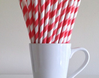 Coral Striped Paper Straws Party Supplies Party Decor Bar Cart Cake Pop Sticks Mason Jar Straws  Party Supplies Graduation