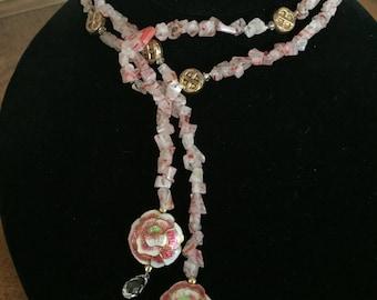 Pink Milleflori Lariat Necklace