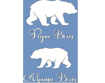Papa Bear and Mama Bear iron on tshirt decals in choice of color, papa bear is 8 x 7, mama bear is 8 x 5.5, 2 separate decals