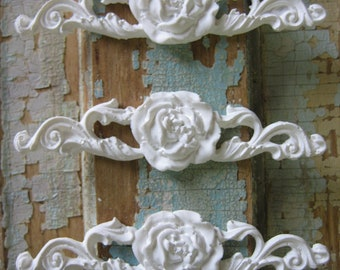 Shabby Chic Rose Center (set of 3)