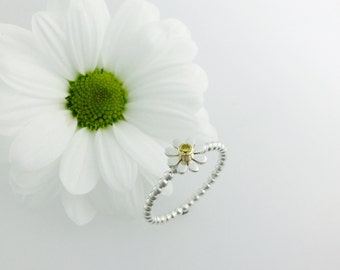 Daisy stacker ring silver & gold, flower stacker
