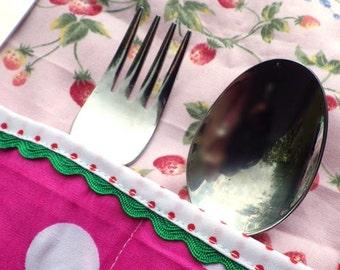 Children's Cutlery Roll, Napkin Roll, Picnic Cutlery, Cutlery Case, Knife Fork Spoon Roll