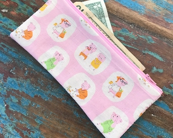 SALE pencil zipper pouch piggy