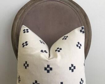 Vintage Blue and White Tribal Batik Cross Pillow Cover // 17 x 17