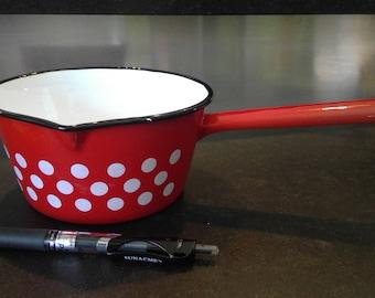 Vintage French Enamelware Cookware - 14cm Pot Red/White Polka Dot