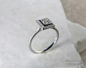 Engagement Ring Halo Style Semi-Mount, Halo Style Gold or Platinum Engagement Ring with Diamonds