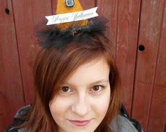 Fascinator Party Hats with Banners Pattern PDF - halloween easy quick sewing all holidays barrette primitive glitter trim
