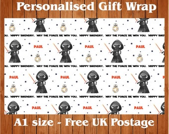 """Personalised Birthday Wrapping Paper inspired by Star Wars """"Kylo"""" & 2 tags"""