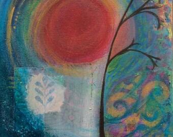 Tree at Sunset: Mixed media painting