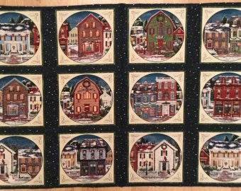 A Gorgeous Wintersburg Winter Holiday Cotton Fabric Panel Free US Shipping