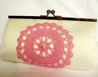 Ivory Bridal Clutch with pink vintage lace
