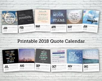 Printable calendar 2018, quote calendar, digital calendar, calendar download, digital download, word art, inspirational, motivational