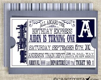 Train Ticket BIRTHDAY PARTY Invitations Vintage Retro Blue Girl or Boy Printable Digital Design DIY Cards - 109169613