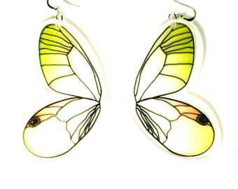 PANIKA Yellow-orange flying wings statement earrings / laser cut perspex earrings